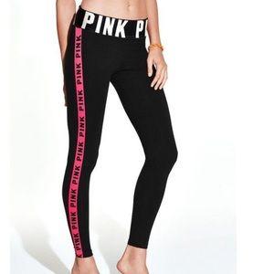 PINK | Black Leggings With Pink Stripe